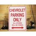看板/プラサインボード シボレー専用駐車場 Chevrolet Parking Only