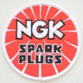 ロゴワッペン NGK スパークプラグス(レッド/ラウンド) *メール便可