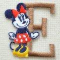 アルファベットワッペン ディズニー ミニーマウス E ブラウン *メール便可