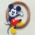 アルファベットワッペン ディズニー ミッキーマウス O ブラウン *メール便可