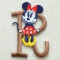 アルファベットワッペン ディズニー ミニーマウス R ブラウン *メール便可