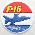 ミリタリーワッペン F-16 General Dynamics 戦闘機 アメリカ空軍 ラウンド *メール便可