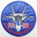 ミリタリーワッペン F/A-18 Hornet 戦闘機 アメリカ海軍 ブルー ラウンド *メール便可