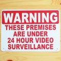 看板/プラサインボード 24時間監視中 Warning/24 Hour Video Surveillance
