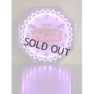 画像4: [送料無料] 壁掛け時計 Coca-Cola コカコーラ ネオンクロック(シルバー/パープル)