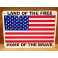 看板/プラサインボード 自由人の国 勇者の故郷(星条旗) Land of the Free