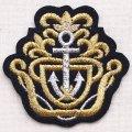 エンブレムワッペン Anchor アンカー(ブラック&ゴールド) *メール便可