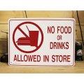 看板/プラサインボード 飲食禁止 No Food or Drinks Allowed in Store