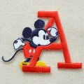 ワッペン ディズニー ミッキーマウス アルファベット (A/レッド) * メール便可  [MY4001-MY306]