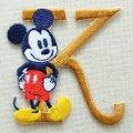 ワッペン ディズニー ミッキーマウス アルファベット (K/イエローゴールド) * メール便可  [MY4001-MY310]