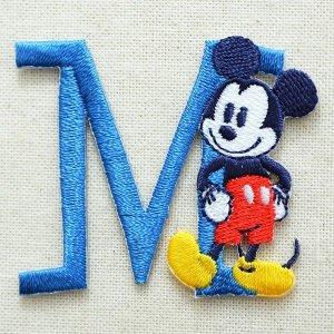 画像1: アルファベットワッペン ディズニー ミッキーマウス M ブルー *メール便可
