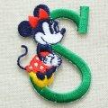 アルファベットワッペン ディズニー ミニーマウス(S/グリーン) *メール便可