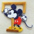 ワッペン ディズニー ミッキーマウス アルファベット (T/イエローゴールド) * メール便可  [MY4001-MY316]