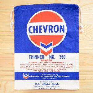 画像1: アメリカンロゴ巾着袋(L) シェブロンオイル Chevron Oil *メール便可