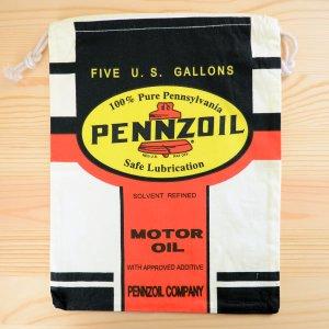 画像1: アメリカンロゴ巾着袋(L) ペンズオイル Pennzoil *メール便可