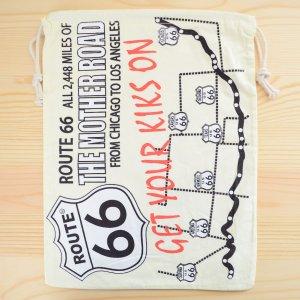 画像1: アメリカンロゴ巾着袋(L) ルート66 Route66 *メール便可