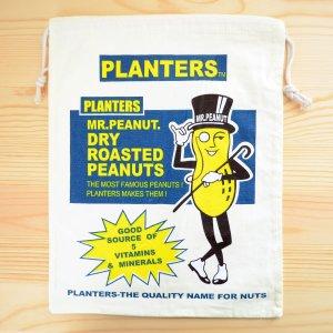 画像1: アメリカンロゴ巾着袋(L) ミスターピーナッツ Mr.Peanut *メール便可