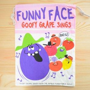 画像1: アメリカンロゴ巾着袋(L) ファニーフェイス Funny Face *メール便可