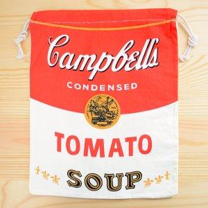 画像1: アメリカンロゴ巾着袋(L) キャンベルトマトスープ Campbell's *メール便可