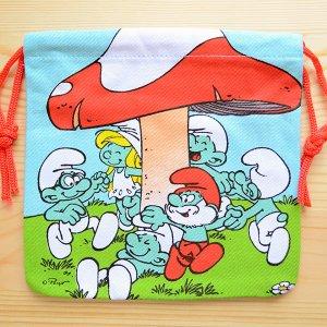 画像1: アメリカンキャラ巾着袋(S) スマーフ Smurf(きのこ) *メール便可