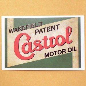 画像1: ガレージステッカー Castrol カストロール(ヨコ/グリーン) シール アメリカン *メール便可