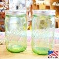 [Ball Mason Jars] Wide Mouth 32oz(940ml) Green / [ボール社 メイソンジャー] ワイドマウス 32オンス(940ml) グリーン