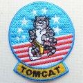 ミリタリーワッペン Tomcat トムキャット アメリカ海軍 戦闘機 キャラクター 星条旗 ライトブルー *メール便可