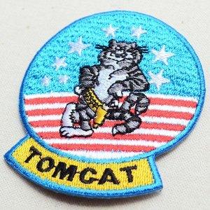 画像2: ミリタリーワッペン Tomcat トムキャット アメリカ海軍 戦闘機 キャラクター 星条旗 ライトブルー *メール便可
