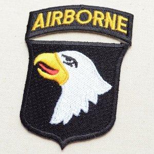 画像2: ミリタリーワッペン Airborne エアボーン イーグル エンブレム ブラック/ホワイト *メール便可