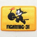 ミリタリーワッペン Felix The Cat フィリックスザキャット  Fighting-31 イエロー レクタングル *メール便可