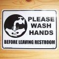 看板/プラサインボード トイレの後は手を洗いましょう Please Wash Hands