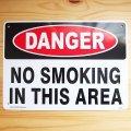 看板/プラサインボード 危険ここは禁煙 Danger No Smoking In This Area