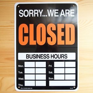 看板/プラサインボード オープン/クローズド Open/Closed(時間記入可/両面プリント)