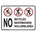 看板/プラサインボード 自転車、スケボー、ローラーブレード禁止 No Bicycles Skateboards Rollerblades
