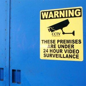 看板/プラサインボード ラージサイズ 24時間監視中 Warning/24 Hour Video Surveillance