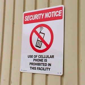 看板/プラサインボード ラージサイズ 携帯電話使用禁止 Security Notice