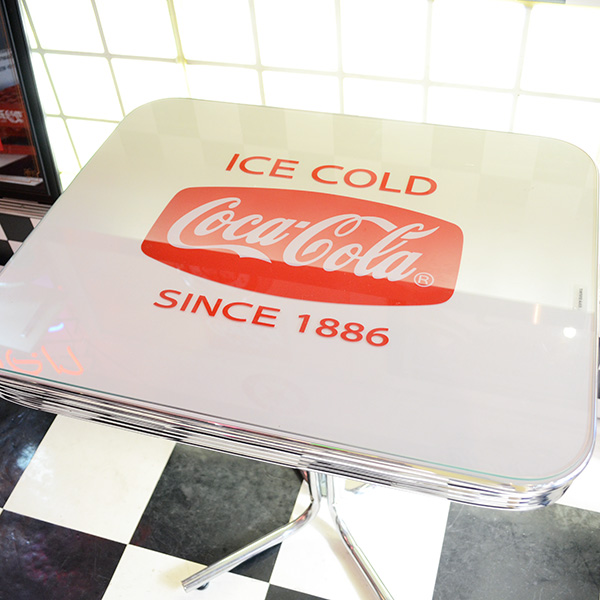 [Coca-Cola] S-Table With Glass Top / [コカコーラ] Sテーブル ウィズ グラストップ 机 家具