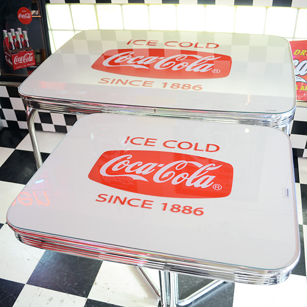 [Coca-Cola] Diner-Table With Glass Top / [コカコーラ] ダイナーテーブル ウィズ グラストップ 机 家具