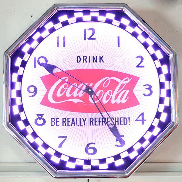 [Coca-Cola] Neon Clock / [コカ・コーラ] ネオンクロック ロゴ入り壁掛け時計