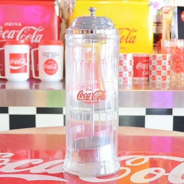 [Coca-Cola] Straw Dispenser / [コカコーラ] ストローディスペンサー 容器 収納 アメリカン